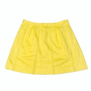 J. Crew Yellow Lace Stripe Mini Skirt Size 0